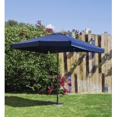 Grand Parasol De Jardin Carac  En Aluminium Mat Gris Fonce Toile Bleue