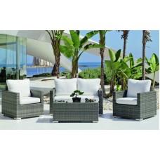 Salon De Jardin Sofa Doha  En Acier Résine Tressée Grise Coussins Couleur  Blanc Anais