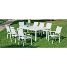 Ensemble Salon A Manger Palma 200-8 En Aluminium Blanc Textilène Couleur  Blanc