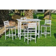 Ensemble Salon A Manger Trope 130-4 En Aluminium Blanc Coussins Couleur  Gris Fonce