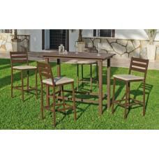 Set Bar Salon De Jardin À Manger Tropea-130 Avec 4Xtropea-2 + Coussin(S) Assise Finition Bronze Marron Tissus Liso Beige Dralon De 4 Places