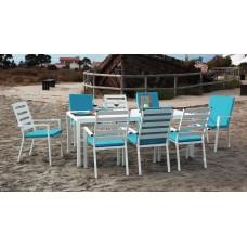 Ensemble Salon A Manger Palma 200-8 En Aluminium Blanc Coussins Couleur  Turquoise