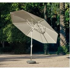 Grand Parasol De Jardin Marlo  En Aluminium Mat Blanc Toile Beige