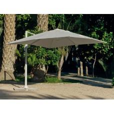 Grand Parasol De Jardin Derby  En Aluminium Mat Gris Clair Toile Gris Clair
