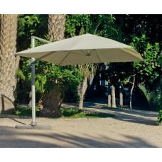 Grand Parasol De Jardin Derby  En Aluminium Mat Gris Clair Toile Beige