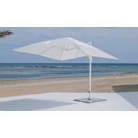 Grand Parasol De Jardin Gaban  En Aluminium Mat Blanc Toile Blanc