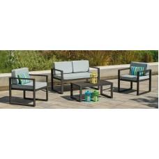 Ensemble Salon Sofa De Jardin Munic 7 En Aluminium Anthracite Coussins Couleur  Gris Clair