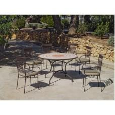 Set Salon De Jardin A Manger Dogli - Vigo  En Acier Et Mosaique Structure Acier Plateau Mosaique Coussins Couleur  Beige Elsa