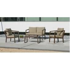 Ensemble Salon Sofa De Jardin Acapu 7 En Aluminium Bronze Marron Coussins Couleur  Marron Ester
