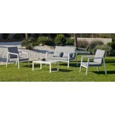 Salon De Jardin Sofa Agata-7 Finition Blanc Tissus Gris Clair Marilan Dralon De 4 À 5 Places
