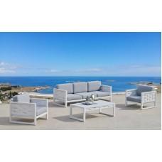 Ensemble Salon Sofa De Jardin Augus 8 En Aluminium Blanc Coussins Couleur  Gris Clair