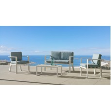 Salon De Jardin Sofa Azores-7-Dl Finition Blanc Tissus Fara Verd Dralonlux De 4 Places