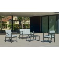 Ensemble Salon Sofa De Jardin Azore 7 En Aluminium Anthracite Coussins Couleur  Vert Mirta