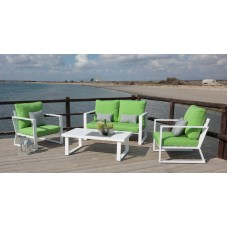 Salon De Jardin Sofa Bolonia-7 Finition Blanc Tissus Pistache Dralon De 4 À 5 Places