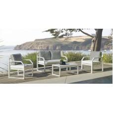 Ensemble Salon Sofa De Jardin Genov 7 En Aluminium Blanc Coussins Couleur  Naomi