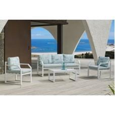 Ensemble Salon Sofa De Jardin Genov 8 En Aluminium Blanc Coussins Couleur  Mirta Dalia