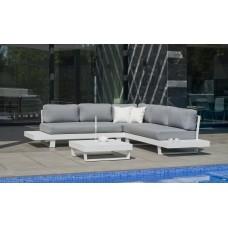 Ensemble Salon Sofa De Jardin Menfi 2+2 En Aluminium Blanc Coussins Couleur  Gris Clair