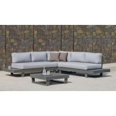 Ensemble Salon Sofa De Jardin Menfi 2+2 En Aluminium Anthracite Coussins Couleur  Gris Clair
