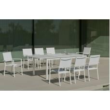 Set Salon De Jardin À Manger Palma-170/220 Avec 8Xroma-3 Finition Blanc Tissus Blanc Textilene De 8 Places