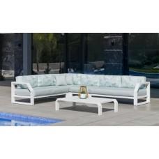 Salon De Jardin Sofa Zafiro-28-Dl Finition Blanc Tissus Assise Mirta Verde / Dossier Dalia Verde Dralonlux De 4 À 7 Places