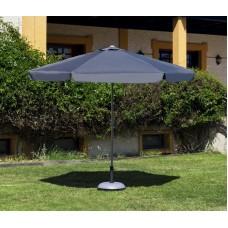 Grand Parasol De Jardin Carac  En Aluminium Mat Gris Fonce Toile Grise