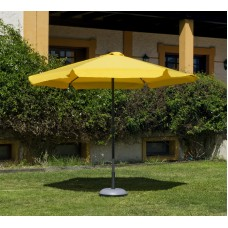 Grand Parasol De Jardin Carac  En Aluminium Mat Gris Fonce Toile Jaune
