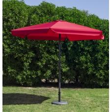 Grand Parasol De Jardin Carac  En Aluminium Mat Gris Fonce Toile Rouge