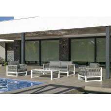 Salon De Jardin Sofa Monterrey-7 Finition Blanc/Cordage Gris Tissus Gris Clair Marilan Dralon De 4 À 5 Places