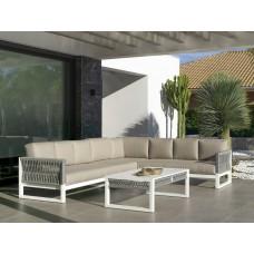 Salon De Jardin Sofa Monterrey-28 Finition Blanc/Cordage Gris Tissus Beige Michel Dralon De 4 À 9 Places