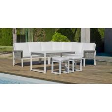 Salon De Jardin Sofa Havana-30 Finition Blanc/Cordage Gris Tissus Anais Blanc Dralon De 4 À 8 Places