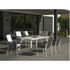 Ensemble Salon De Jardin A Manger Haut De Gamme Dalas - Catan  En Aluminium Blanc Struct Alu Blanc, Cordage Gris