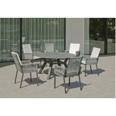 Ensemble Salon De Jardin A Manger Haut De Gamme Saigo - Catan  En Aluminium Gris Anthracite + Plateau Pierre Synthetique Plateau Pierre Synthetique, Struct Alu Gris, Cordage Gris