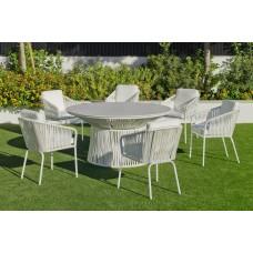 Set Salon De Jardin À Manger Rhodos-150-Krion/Tulip-3 Avec Coussin(S) Complet(S) X6 Dralon Finition Blanc/Cordage Blanc Tissus Anais Blanc Dralon De 6 Places