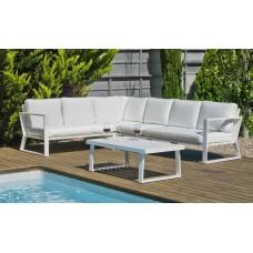 Salon De Jardin Sofa Bolonia-28 Finition Blanc Tissus Anais Blanc Dralon De 6 À 7 Places