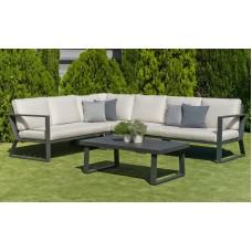Ensemble Salon Sofa De Jardin Bolon 28 En Aluminium Anthracite Coussins Couleur  Mariland Gris Clair