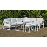 Ensemble Salon Sofa De Jardin A Manger Bolon 30 En Aluminium Blanc Coussins Couleur  Anais Blanc