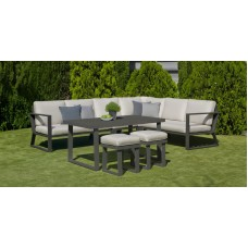 Salon De Jardin Sofa Bolonia-30 Finition Anthracite Tissus Gris Clair Marilan Dralon De 6 À 9 Places