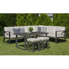 Ensemble Salon Sofa De Jardin A Manger Bolon 30 En Aluminium Anthracite Coussins Couleur  Mariland Gris Clair