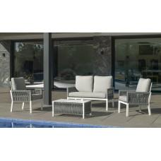 Salon De Jardin Sofa Havana-7 Finition Blanc/Cordage Gris Tissus Anais Blanc Dralon De 4 À 5 Places