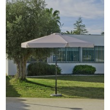 Grand Parasol De Jardin Carac  En Aluminium Mat Gris Fonce Toile Beige