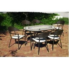 Set Salon De Jardin A Manger Oasis - Bairo  En Acier Et Mosaique Structure Acier Plateau Mosaique Coussins Couleur  Ecru Alba