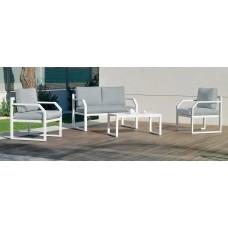 Salon De Jardin Sofa Genova-7 Finition Blanc Tissus Gris Clair Marilan Dralon De 4 Places