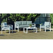Salon De Jardin Sofa Lausana-8 Finition Blanc Tissus Gris Clair Marilan Dralon De 5 Places