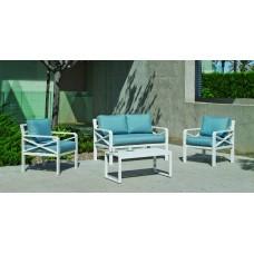 Salon De Jardin Sofa Lausana-7-Dl Finition Blanc Tissus Fara Bleu Dralonlux De 4 Places
