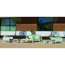 Salon De Jardin Sofa Augusta-9-Dl Finition Blanc Tissus Herisan Vert Anis Dralonlux De 4 À 6 Places