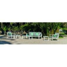 Salon De Jardin Sofa Bolonia-10 Finition Blanc Tissus Gris Clair Marilan Dralon De 4 À 7 Places