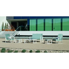 Salon De Jardin Sofa Bolonia-9 Finition Blanc Tissus Gris Clair Marilan Dralon De 4 À 6 Places