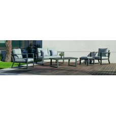 Salon De Jardin Sofa Bolonia-9 Finition Anthracite Tissus Gris Clair Marilan Dralon De 4 À 6 Places