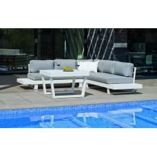 Salon De Jardin Sofa Menfis-8 Finition Blanc Tissus Gris Clair Marilan Dralon De 4 À 6 Places