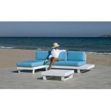 Salon De Jardin Sofa Menfis-9 Finition Blanc Tissus Turquoise Dralon De 4 À 6 Places